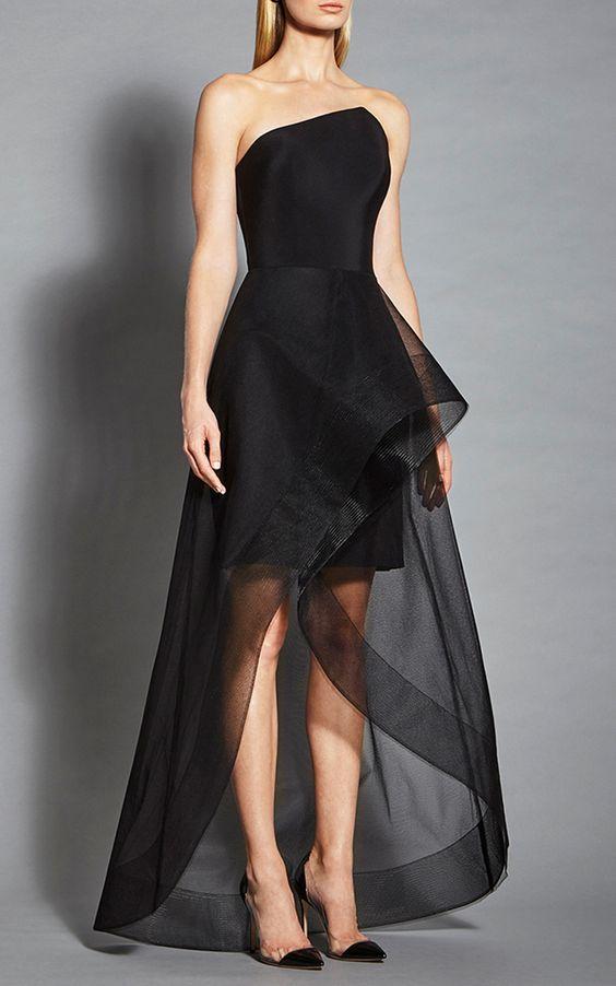 Geometry is art in this Romona Keveža Spring Summer 2017 mullet-style little black dress.