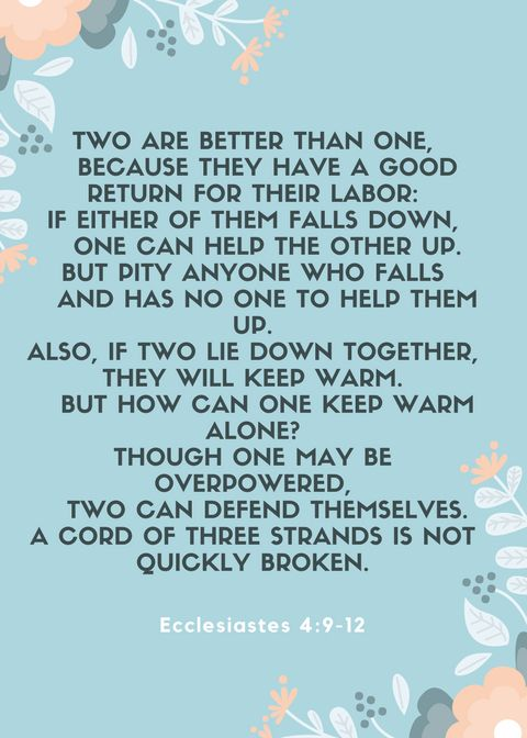 Two Are Better Than One Ecclesiastes 4 9 12