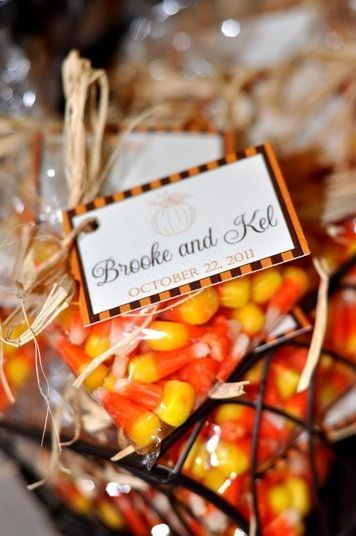 Nothing says easy and affordable fall wedding favors more than bags of candy corn.