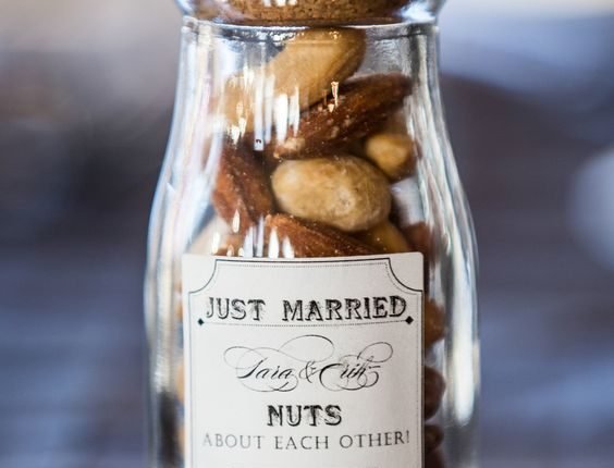Your guests will thank you for sending them home with a jar of assorted nuts in the fall.