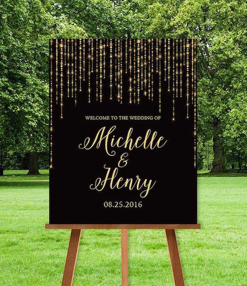 Recibe a tus invitados con un cartel para bodas con los colores de la misma.