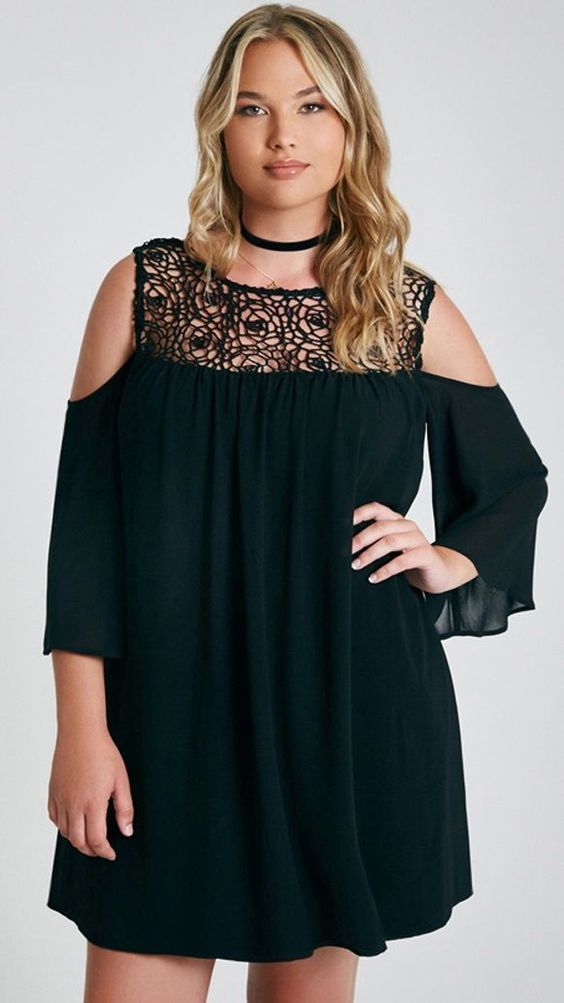 Stunningly chic plus size cocktail dress with a crochet trim cold-shoulder by global fashion.
