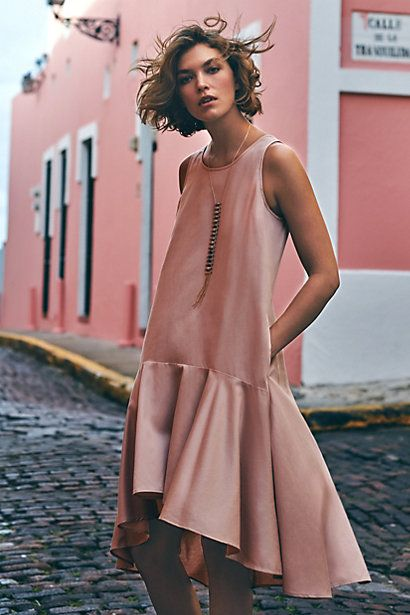 "Soft pink ruffled dropwaist high-low hem daytime cocktail dress with side pockets and pullover styling by Anthropologie ""Camellia"""