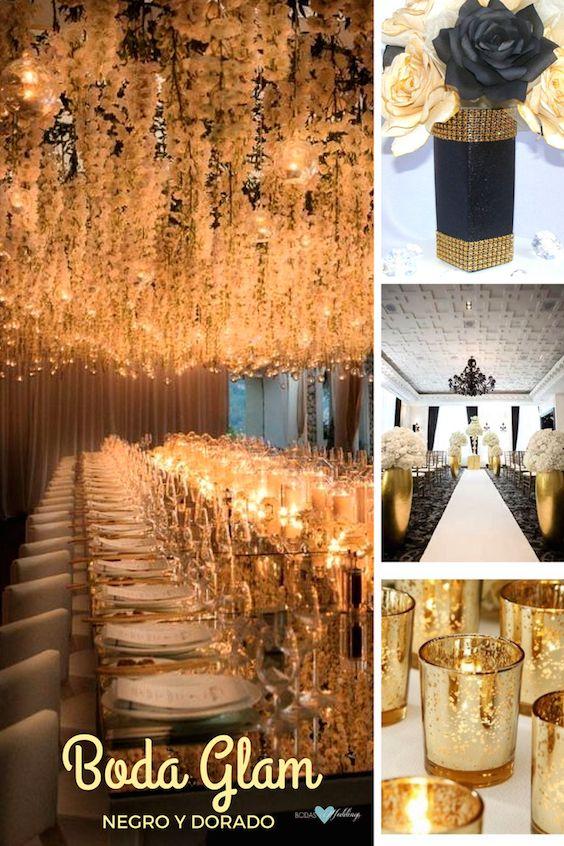 Decoración de bodas en negro y dorado muy glam. Deja que las luces brillen.