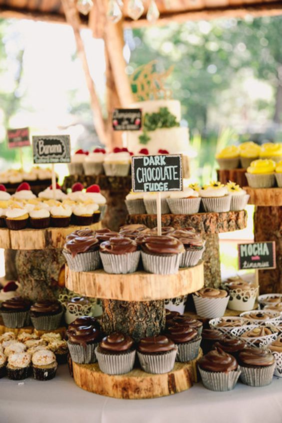 Don't let your guests venture out into the forest without some delicious cupcakes! Dessert buffet ideas for an enchanted forest wedding.