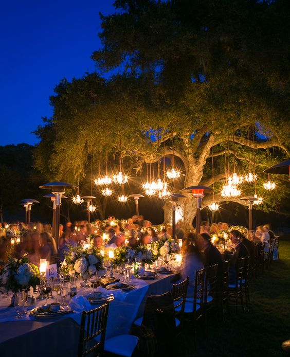 Spectacular enchanted forest wedding idea with chandeliers hanging from the big old tree. Ryan Phillips Photography.