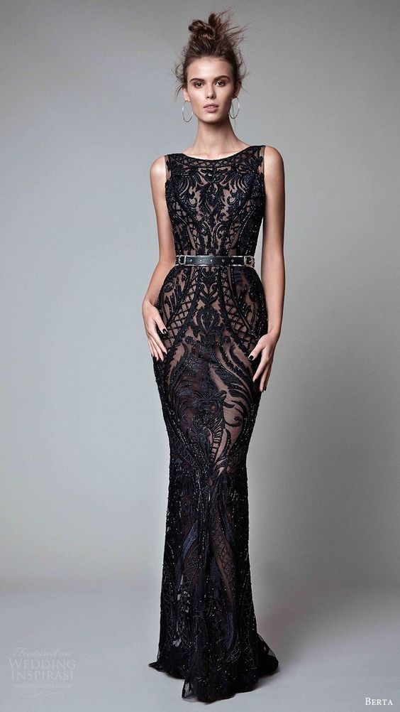 Dreamy! Sleeveless scoop neck and sheer sheath evening dress by Berta 2017 RTW.