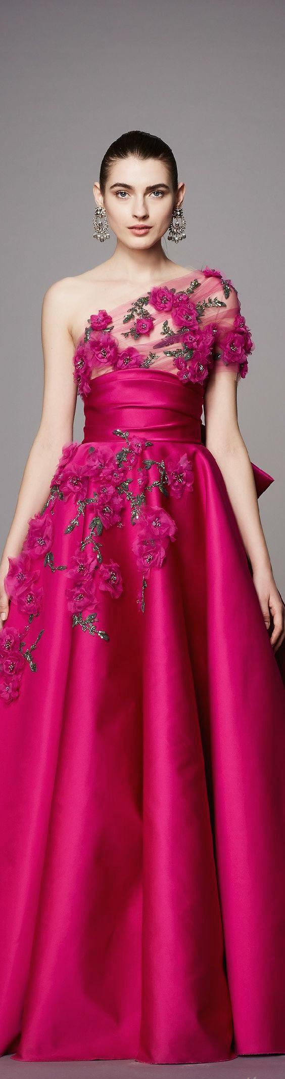 Raspberry pink and 3-D embroidered roses on this stunning evening gown from the pre-fall 2017 Marchesa collection.