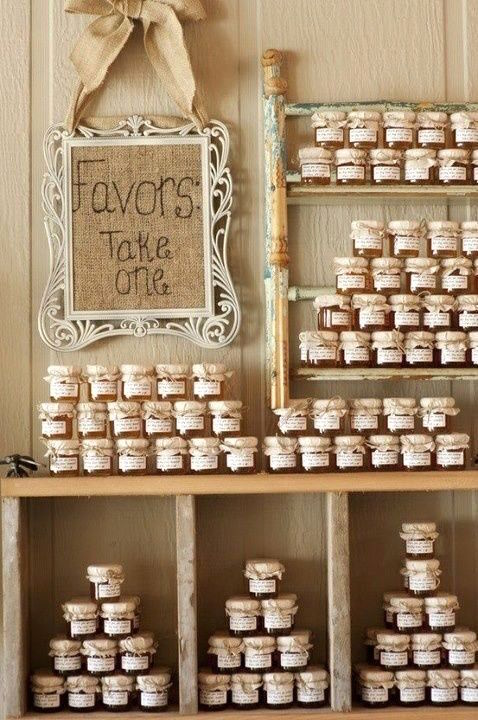 Grab hold of some old furniture and hang it from the wall to display your yummylicious fall country wedding favors. Honey in jars.