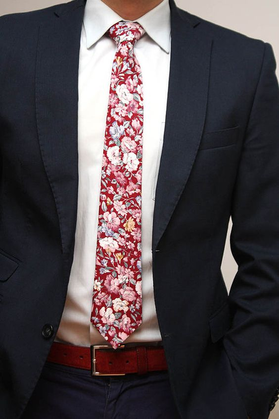Love this handmade cotton floral tie for the civil ceremony. The groom will look so modern!