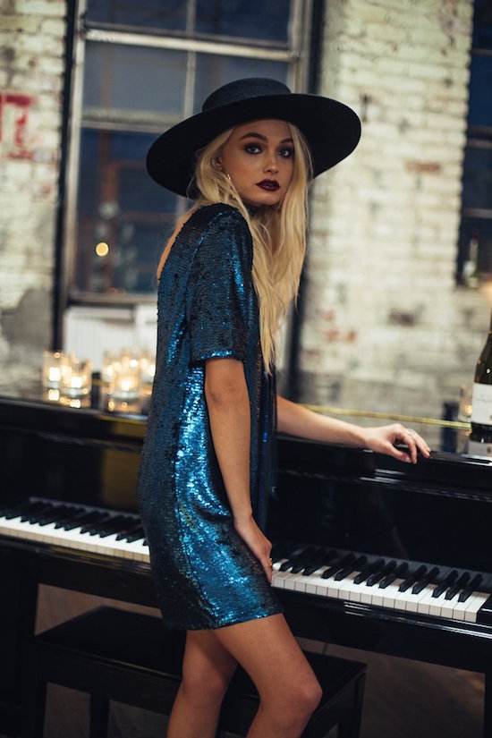 Relaxed fit matte sequin dress with three quarter sleeves and a low back by Luna B.