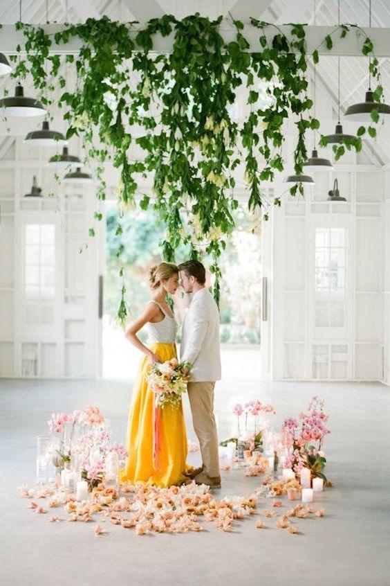 Contrasting yellows and greens on this modern Cuban-inspired wedding. Wedding photographer: Jose Villa.