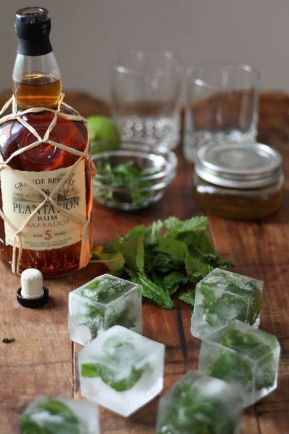 Mojito bar with mint leaf ice cubes.