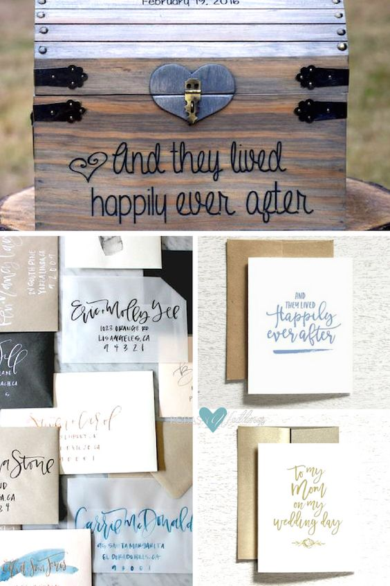 Original wedding wishes. Cute rustic wooden box to collect your wedding cards | Happily ever after and to my mom cards