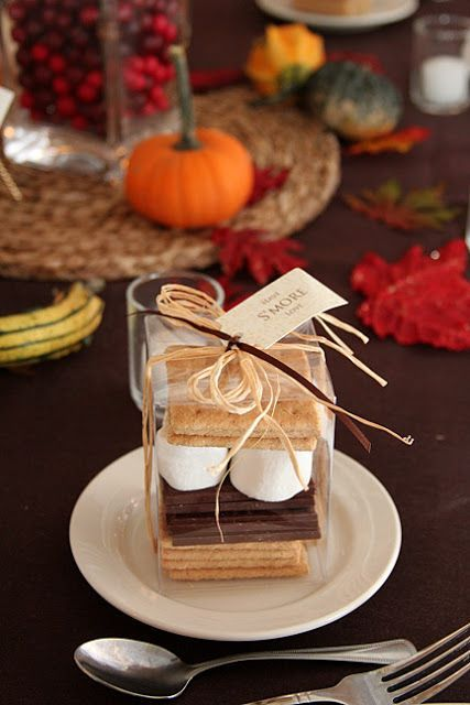 """""""Have S'more Love"""" perfect favor for autumn. This is absolutely a great idea! Sold at EdieMadeItGiftsnMore. Photography: Colin Cowie Weddings."""