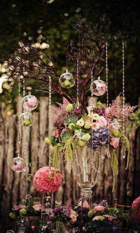 Hanging centerpieces and many more romantic enchanted forest wedding ideas!