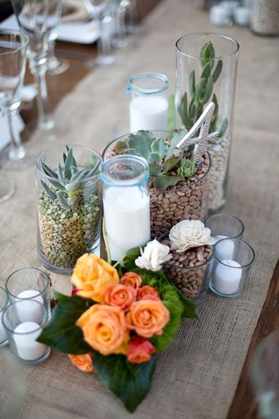 Bring Cuba into your wedding and your backyard with these succulent centerpiece ideas.
