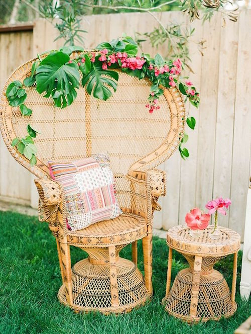 Hibiscus and palm leaves decorating ideas for a tropical wedding. Wedding photograper: Krista Jones Photography.