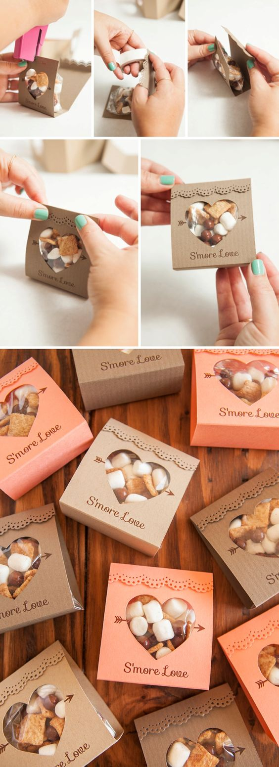 Mini kit with s'mores for the guests to build their own wedding favors. How cute is this?