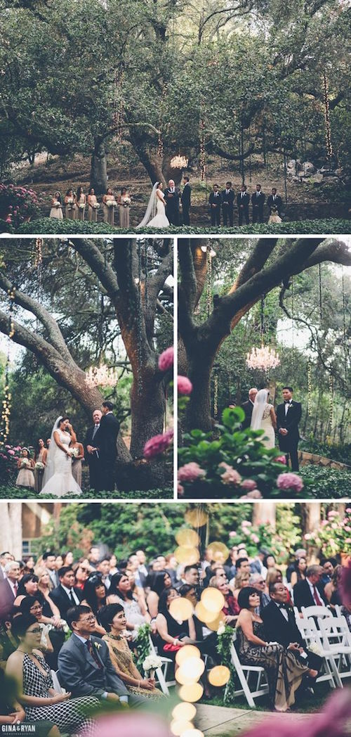 Get married under the old oak tree at the Calamigos Ranch in L.A. Wedding photographers: Gina & Ryan Photography.