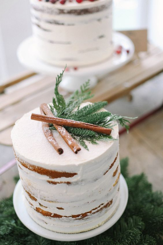 Chiffon Cake With Cinnamon Filling And A Thin Layer Of Buttercream Frosting  For A Rustic Winter