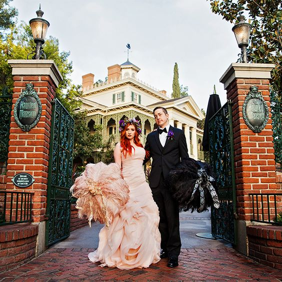 Pick from a fairy-tale wedding right in front of Cinderella's castle or a spooky portrait session at The Haunted Mansion in Disneyland, one of the most awesomely unique wedding venues in Los Angeles.