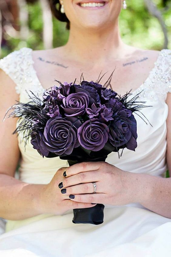 Gothic steampunk wedding paper flower bouquet. Definitely, a heirloom!
