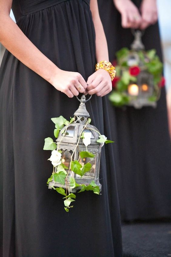 Bridesmaids light the way with lanterns instead of carrying bouquets. Whether it is for your bridesmaids or your own bridal bouquet, these non-floral masterpieces are just the thing to give your ceremony that extra edge.