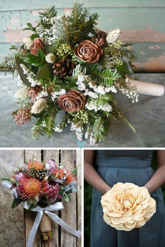 Non-Floral Bridal Bouquets for Winter Weddings.