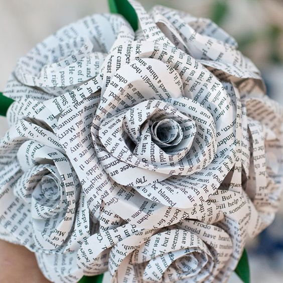 Non floral winter wedding bouquets from books.