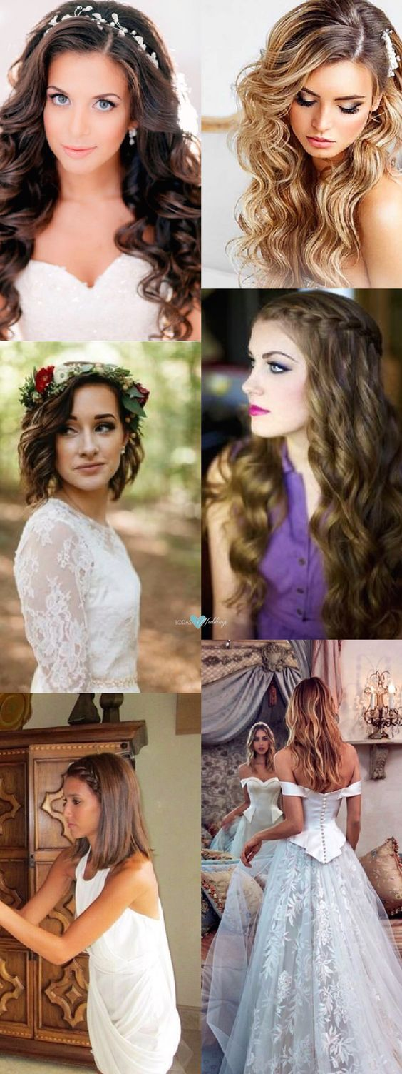 Peinados de novia con pelo suelto rizado o lacio, largo, corto o mediano.