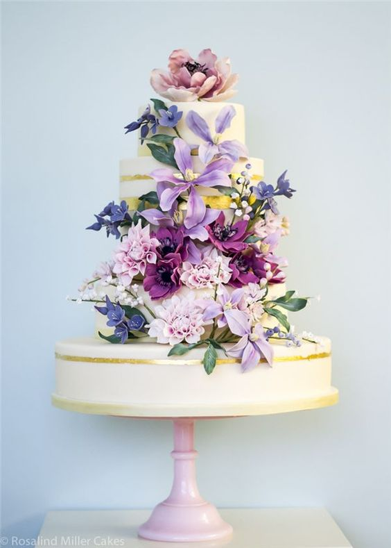 Perfect for a spring wedding. Rosalind Miller Sugar Flower Wedding Cake.