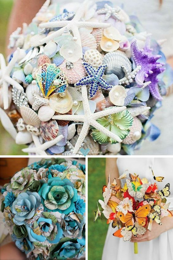 Wedding bouquet ideas for summer for the non-traditional bride. Unique wedding bouquets without flowers. Rose and peony National Geographic map paper flower bouquet. Butterfly bouquet for the rehearsal.