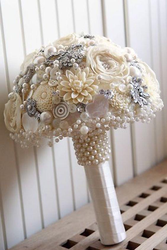 Vintage Style Artificial Brooch Bridal Wedding Posie Bouquet