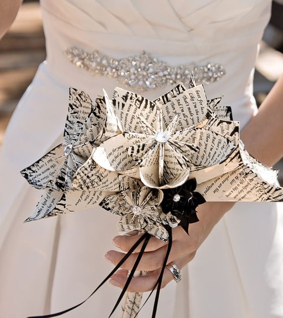 Alternative bridal bouquet made from books.