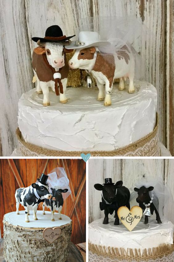 How sweet are these two cows used as a wedding cake topper?