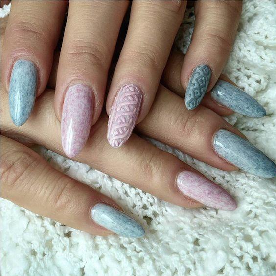 Uñas de suéter para el invierno. Tendencia en decoración de uñas. El efecto del tejido es asombroso.