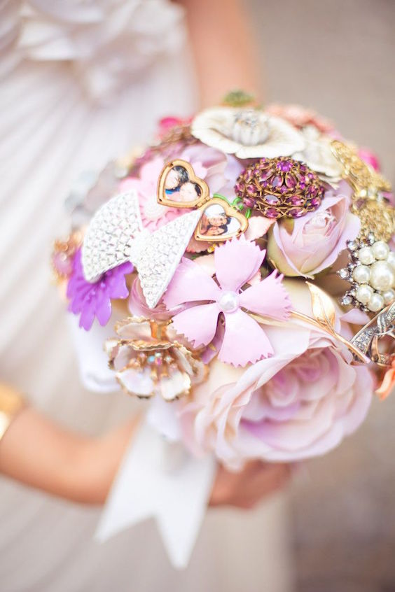 Most adorable jewelry and fabric flowers bouquet. Add your own brooch to make it even more meaningful to you and keep it as a memento of your wedding. By The Ritzy Rose.