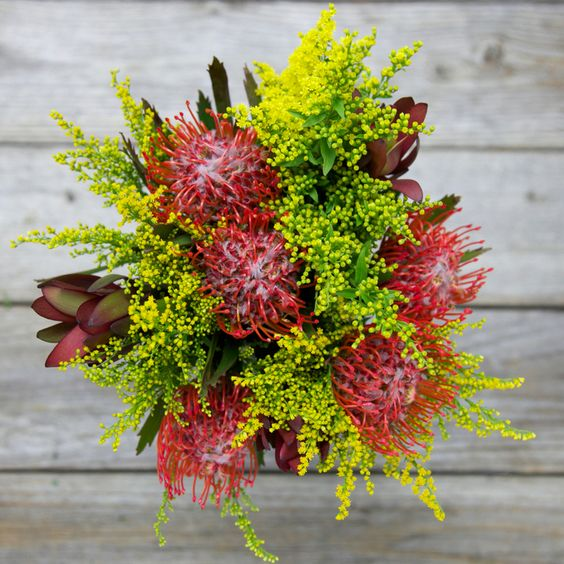 Colorful and unique fall bride's bouquet without flowers.