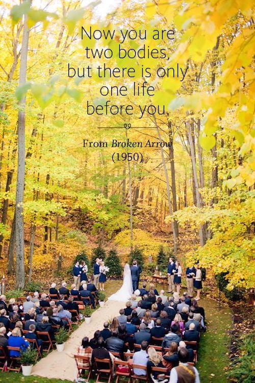 En este momento son dos con una sola vida por delante. Pídele al oficiante de tu boda que lea esta frase durante tu boda. Frases de películas: Broken Arrow.