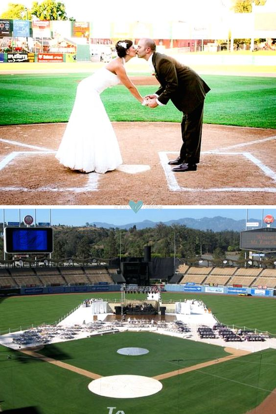 Marrying on home plate of a baseball stadium. Wedding photographer: Kate Photo.