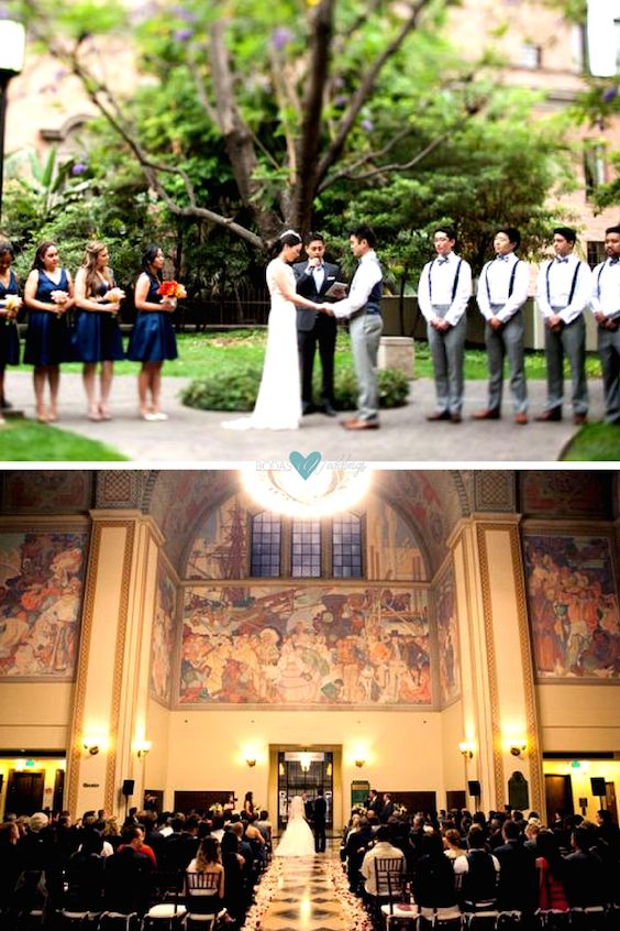 Indoors or outdoors, original and unique wedding venue: Los Angeles Public Library. L.A. wedding photographer: Michael Segal Weddings.