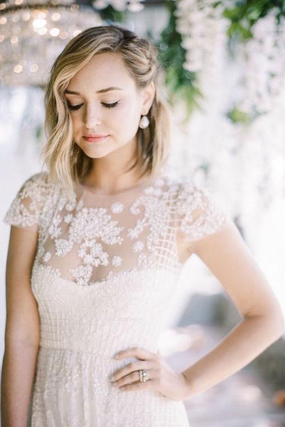 42 peinados de novia con pelo suelto largo corto o mediano - Peinados melenas cortas ...