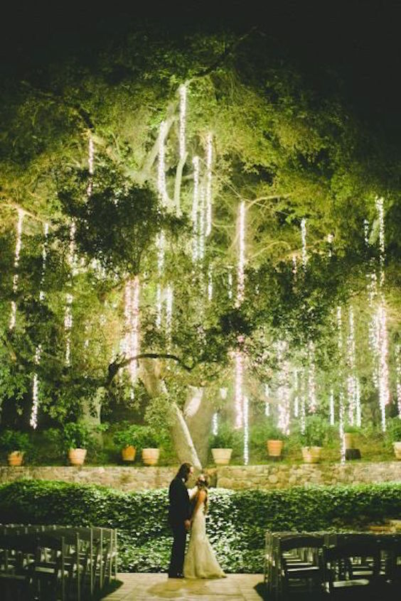 An oak tree filled with strands of light is a romantic spot for a kiss.
