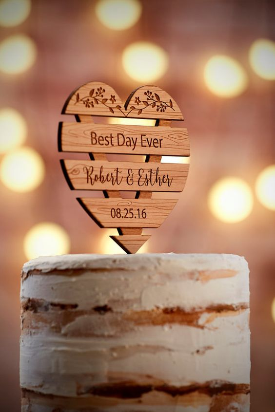 Crates are all the rage right now. Check out these rustic glam personalized cake topper.