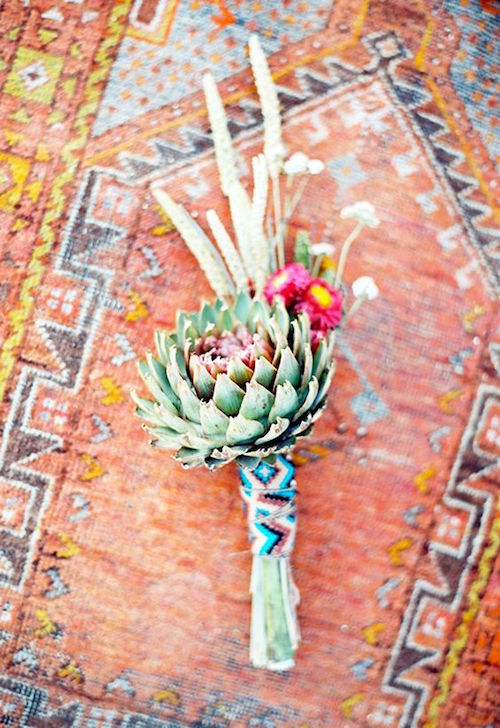 Depending on where you live, you may have other types of plants handy. Meanwhile, we love this colorful Southwestern wedding bouquet.