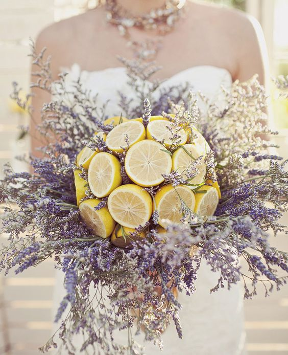 If you are looking for a fragrant, fresh and summery bouquet go no further. Unique lavender and lemon bridal bouquet. Make sure it's hollow or it will be too heavy to carry. Wedding photographer: Jagger Photography.