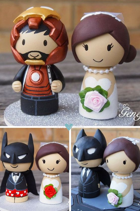 Cute superhero wedding cake toppers. Love Batman in boxer shorts!