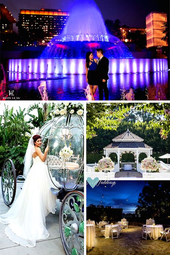 Unique wedding venues in Los Angeles: Disneyland. Disney Concert Hall, Los Angeles. Wedding photographer Kevin Le Vu Photography. Such a happy bride riding in Cinderella's Coach. Disneyland's romantic Rose Court Garden. DoubleTree by Hilton Los Angeles Downtown garden wedding reception.
