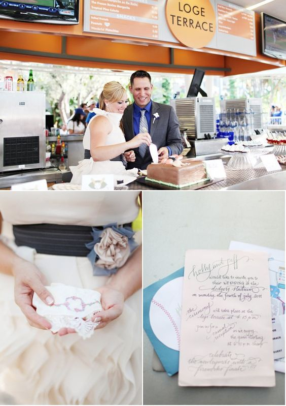 """This is a """"Take me out to the ball game"""" kind of wedding. Unique wedding venues in Los Angeles: Dodgers Stadium."""